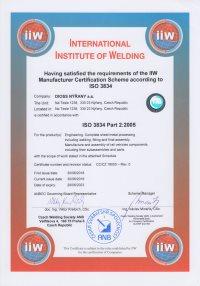 Certificate IIW ISO 3834 Part 2:2005