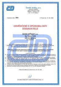 Osvědčení o způsobilosti dodavatele od ČD